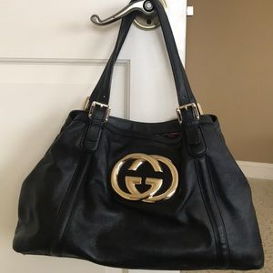 Gucci , Black leather shoulder bag